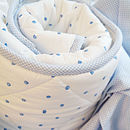 Blue dotty cot bed quilt