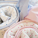 Pink and blue dotty cot bed quilt