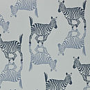 Zebra Wallpaper in Blue/Grey