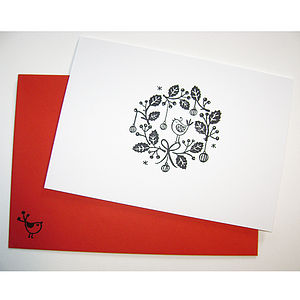 Five Hand Printed 'Garland' Christmas Cards - christmas cards: packs
