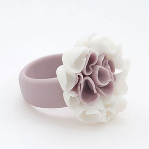 Aragonesa Purple Flower Porcelain Ring - rings