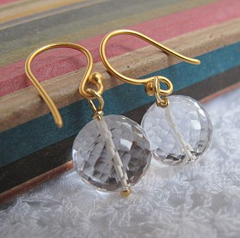 Bauble gold earrings in crystal quartz