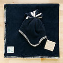 Navy Hat and Blanket Set