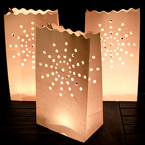 Ten White Candle Lanterns With Tea Lights - lights & lanterns