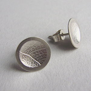 Silver Leaf Concave Stud Earrings
