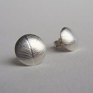 Silver Leaf Convex Stud Earrings