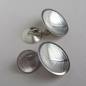 Silver Leaf Double Dome Cufflinks - cufflinks