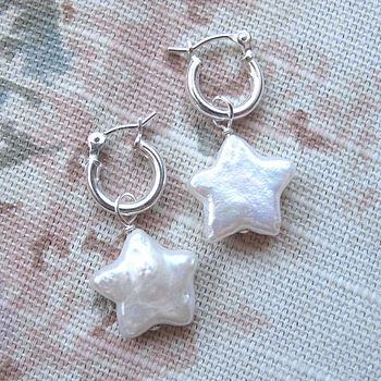 Pearl Stars on silver hoops