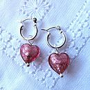 Murano Pink heart charms on hoops