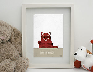 'Red' Panda Print Unframed