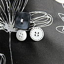 B&W Etched Floral Apron Buttons