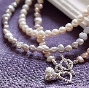 Silver And Pearl Hearts Necklace - women's jewellery