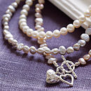 Silver And Pearl Hearts Necklace