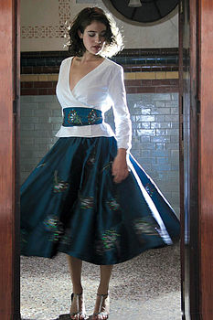 Taffeta Peacock Embroidered Skirt (blue)