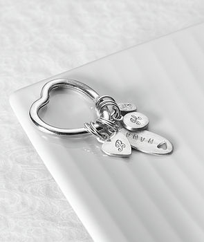 Personalised Love Heart Charm Keyring