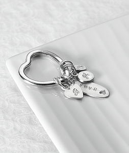 Personalised Love Heart Charm Keyring - women's accessories