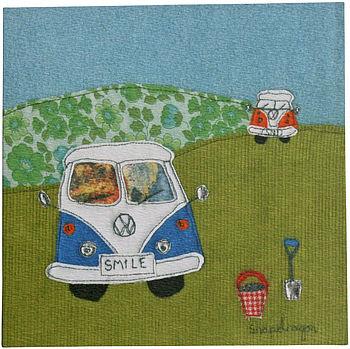 Blue campervan greetings card