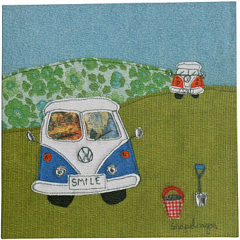 Blue campervan greetings card