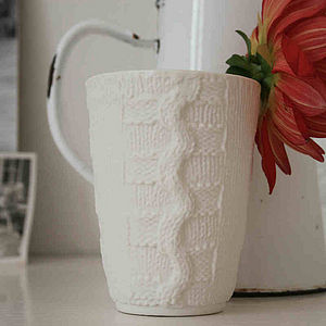 Knitted Effect Ceramic Beaker - style-savvy