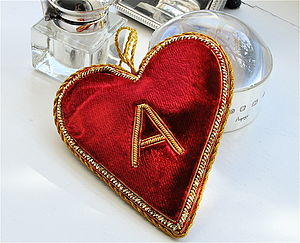 Monogrammed Velvet Heart - wedding favours