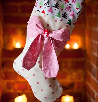 Pink Mini Dot Bow Stocking