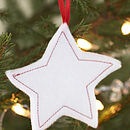 White felt star tree decoration - 1 20 each