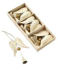 Set of Nine Cream Angel Wing Christmas Decorations