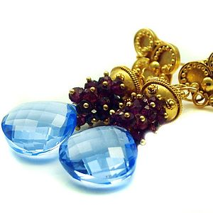 Garnet And Tanzanite Quartz Gold Earrings - bridal earrings