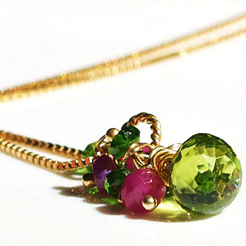 Peridot Ruby Gemstone Cluster Necklace