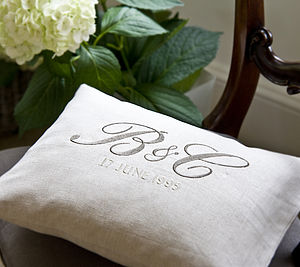 Monogramed Natural Linen Cushion - embroidered cushions