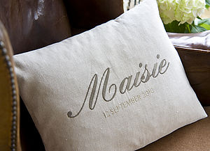 Personalised Name Natural Linen Cushion - 1st birthday gifts