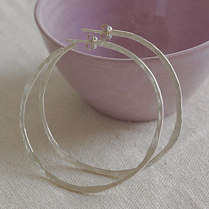 Softly Hammered Silver Hoop Earrings - earrings