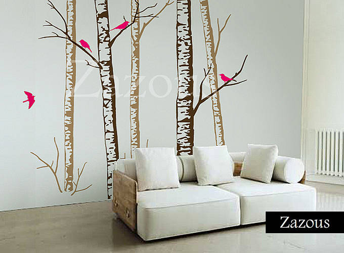 birch forest brown wall stickerszazous | notonthehighstreet