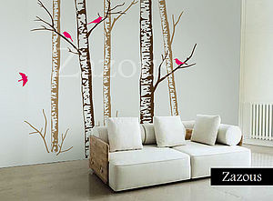 Birch Forest Brown Wall Stickers - bedroom
