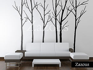 Winter Trees Black Wall Stickers - bedroom
