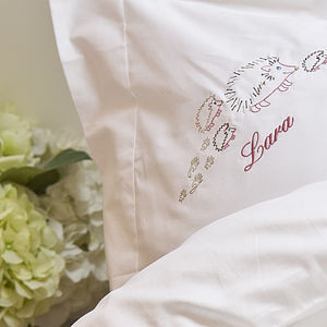 Personalised Hedgehog Pillow Case - bed linen