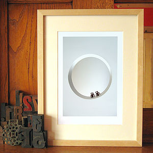 Together Clockwork Monkey Toys Wedding Print - modern & abstract