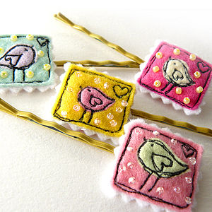 'Birdie Stamp' Hairgrips - hairclips & hairties