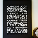 London Weekend Destinations Print