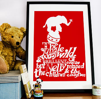 Circus Elephant Print - Red & White