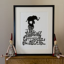Nelly The Elephant Children's Print - Black & White