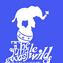 Children's Nelly The Elephant Circus Print  - Blue & White
