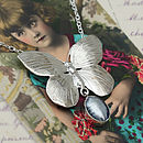 Silver Butterfly and Murano Glass Necklace