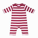 Pale Pink & Raspberry Cotton Sleepsuit