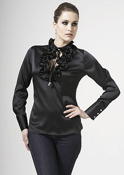 Silk Frill Collar Blouse with Tie Ups, Black