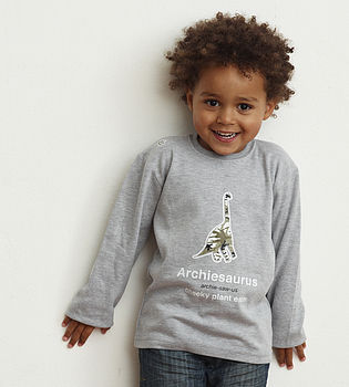 Personalised Dinosaur Long Sleeve T Shirt