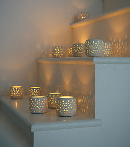 Small Ceramic Tea Light Holders Set Of Six - home accessories
