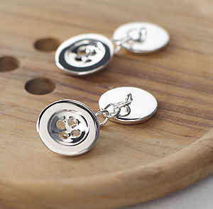 Sterling Silver Button Cufflinks - jewellery for men