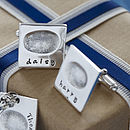 Personalised Square Silver Fingerprint Cufflinks
