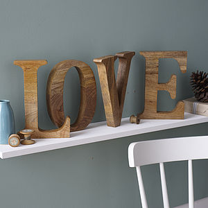 Natural Mango Wooden Letter - baby's room